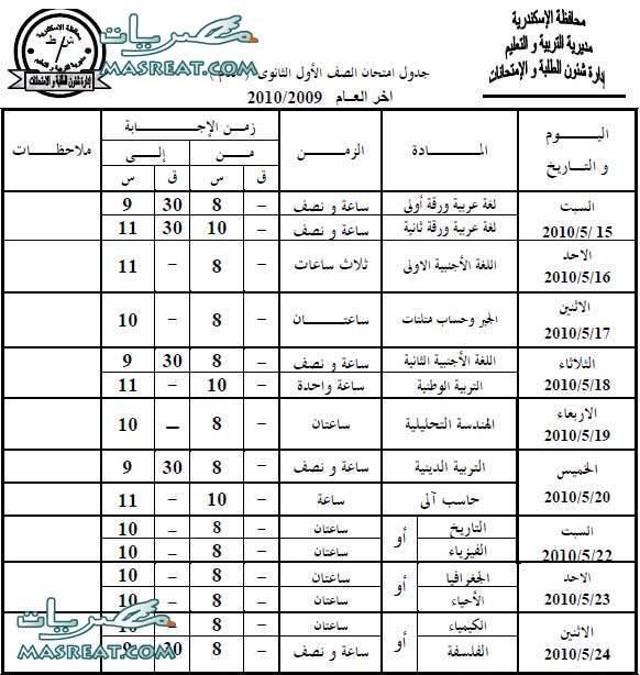 جدول امتحانات الصف الاول الثانوي 2011 الاسكندرية