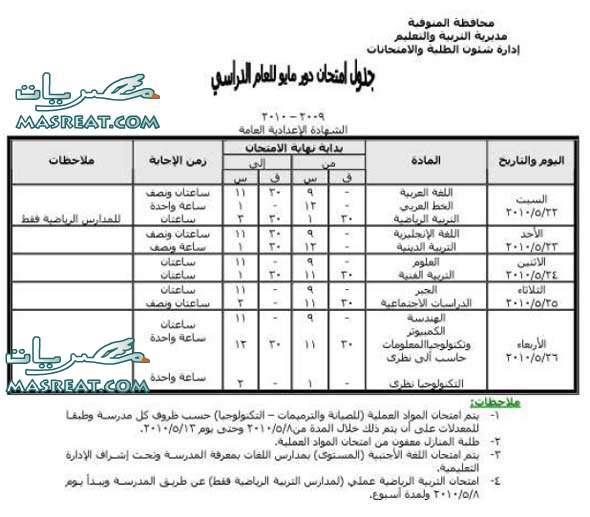 جدول امتحانات الشهادة الاعدادية 2010 gadwal-prep3-2010-mo