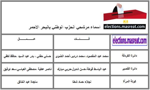 قائمة اسماء مرشحي الحزب الوطني بالبحر الاحمر مجلس الشعب 2010