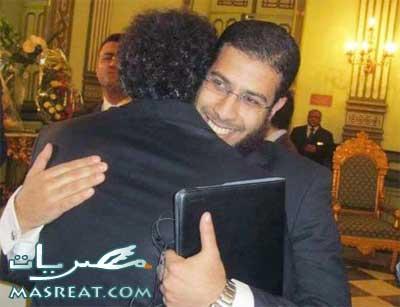 صورة تهنئة نادر بكار للنائب عمرو حمزاوي بمناسبة زواجه من بسمة