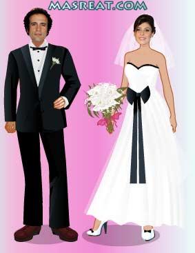 لعبة تلبيس العريس عمرو حمزاوي والعروسة بسمة..بمناسبة الزواج