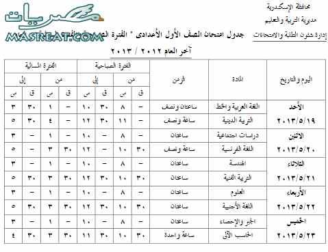 جدول امتحانات الصف الاول الاعدادي 2013 محافظة الاسكندرية