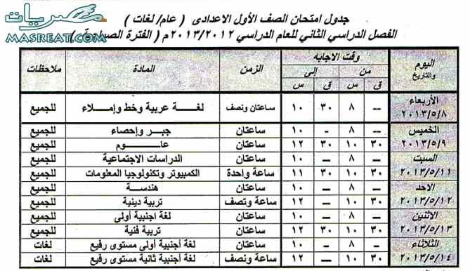 جدول امتحانات الصف الاول الاعدادي 2013 اسوان اخر العام