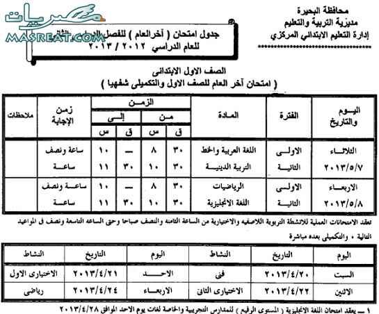 جدول امتحانات الصف الاول الابتدائي 2018 محافظة البحيرة