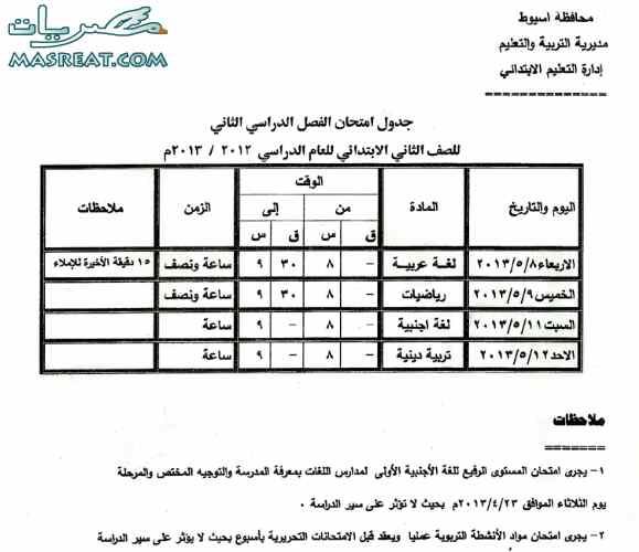 جدول امتحانات الصف الثاني الابتدائي 2013 محافظة اسيوط