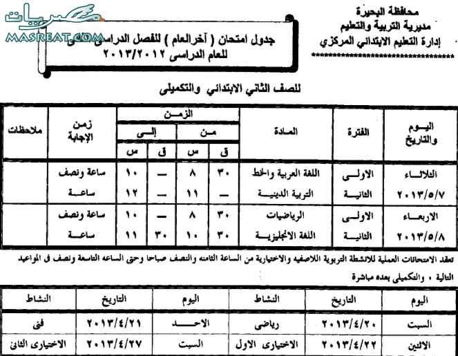 جدول امتحانات الصف الثاني الابتدائي 2013 محافظة البحيرة