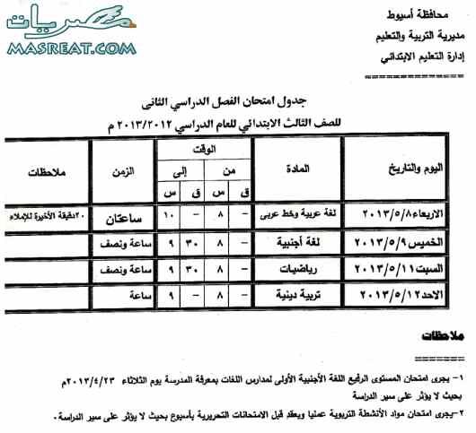 جدول امتحانات الصف الثالث الابتدائي 2013 اسيوط الترم الثاني