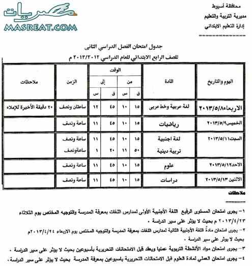 جدول امتحانات الصف الرابع الابتدائي 2013 محافظة اسيوط
