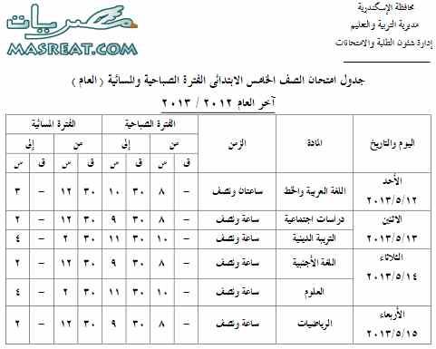 تحميل جدول امتحانات الصف الخامس الابتدائي 2013 بالاسكندرية