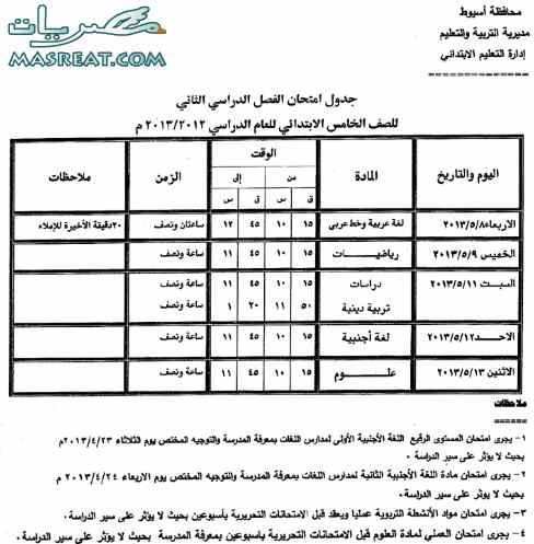 جدول امتحانات الصف الخامس الابتدائي 2018 لمحافظة اسيوط اخر العام