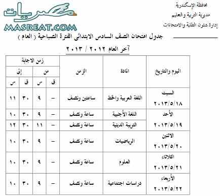جدول امتحانات الشهادة الابتدائية 2013 الصف السادس بالاسكندرية