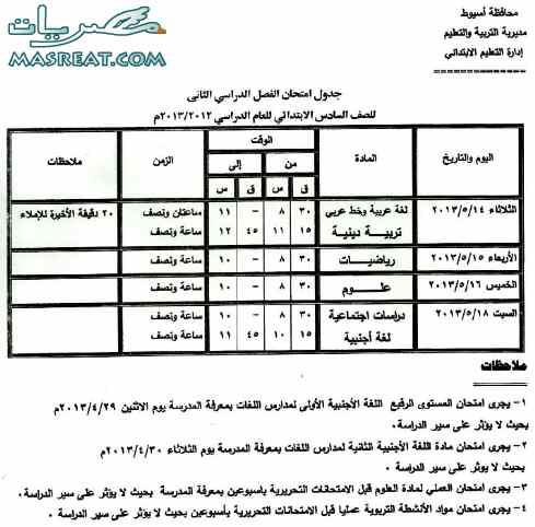 جدول امتحانات الشهادة الابتدائية 2018 اسيوط الصف السادس اخر العام