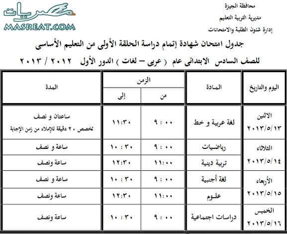 جدول امتحانات الشهادة الابتدائية 2013 بالجيزة الصف السادس