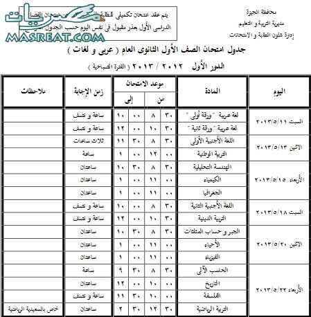 جدول امتحانات الصف الاول الثانوي 2013 الجيزة