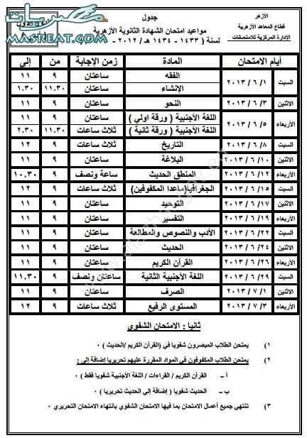 جدول امتحانات الثانوية الازهرية 2013 ادبي