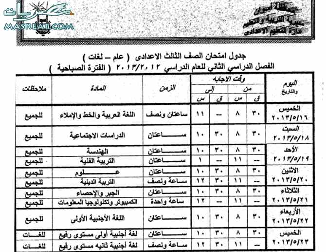 جدول امتحانات الشهادة الاعدادية 2013 الصف الثالث محافظة اسوان