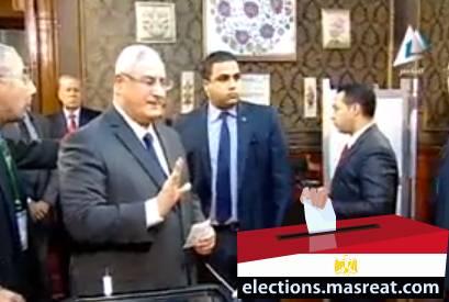 الرئيس عدلي منصور يشارك بالاستفتاء على الدستور
